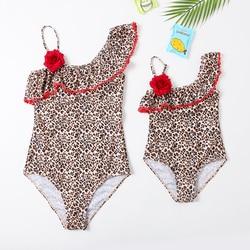 2020 New Beachwear Mum and Me Swimsuit  One Piece Monokini  Animal Skin Print Swimsuit for Girl and Women Family Swimwear