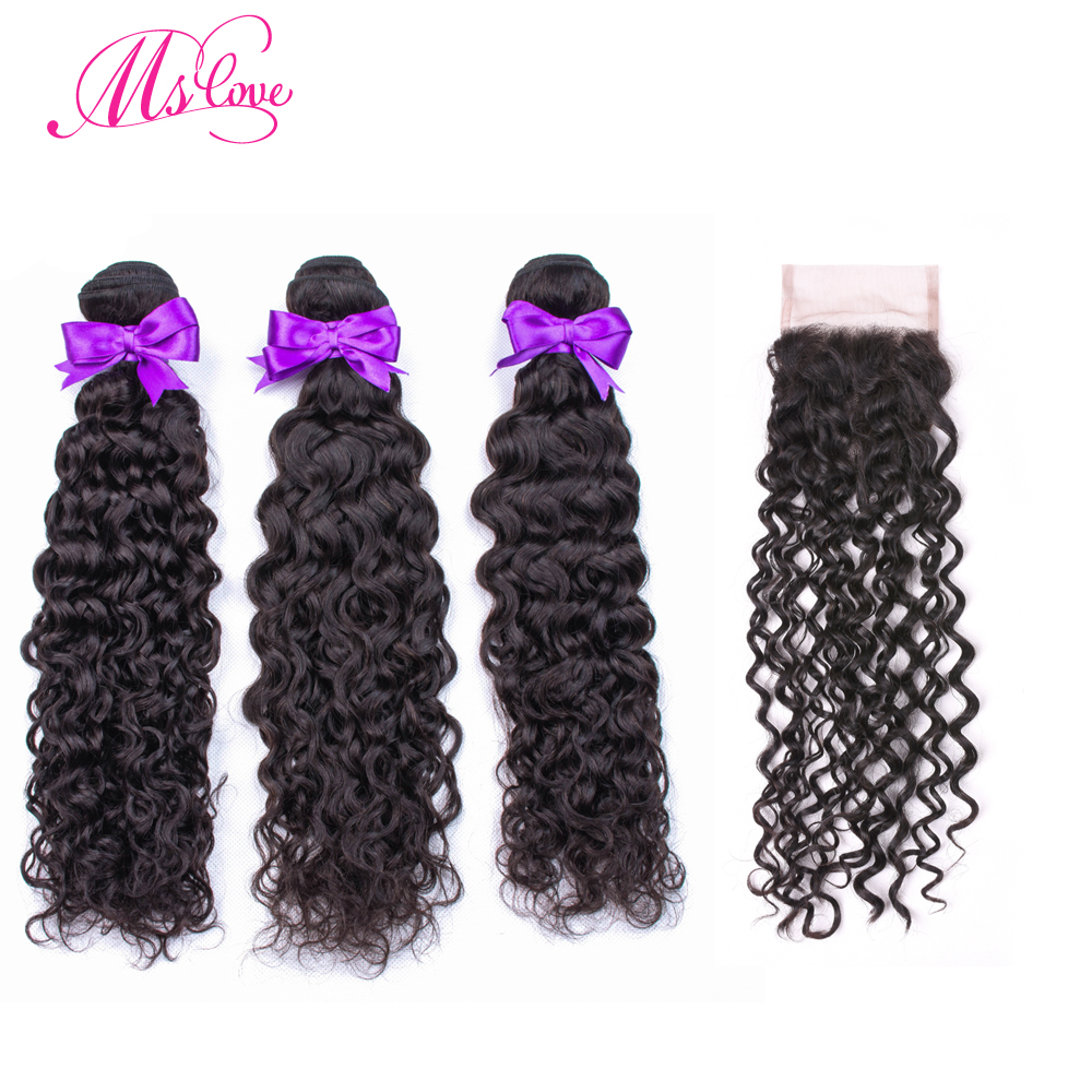 Water Wave Bundles With Closure Brazilian Hair Weave Bundles 3 Human Hair Bundles With Closure 4x4 Lace Size Non Remy Ms Love