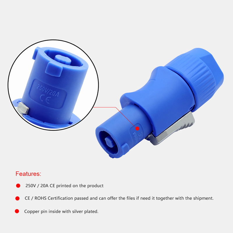 Image 4 - 50pcs NAC3FCA NAC3FCB PowerCon Connector 3pins 20A 250V Powercon Male Plug, with CE/RoHS,Blue(Input) & Light Grey(Output)-in Connectors from Lights & Lighting