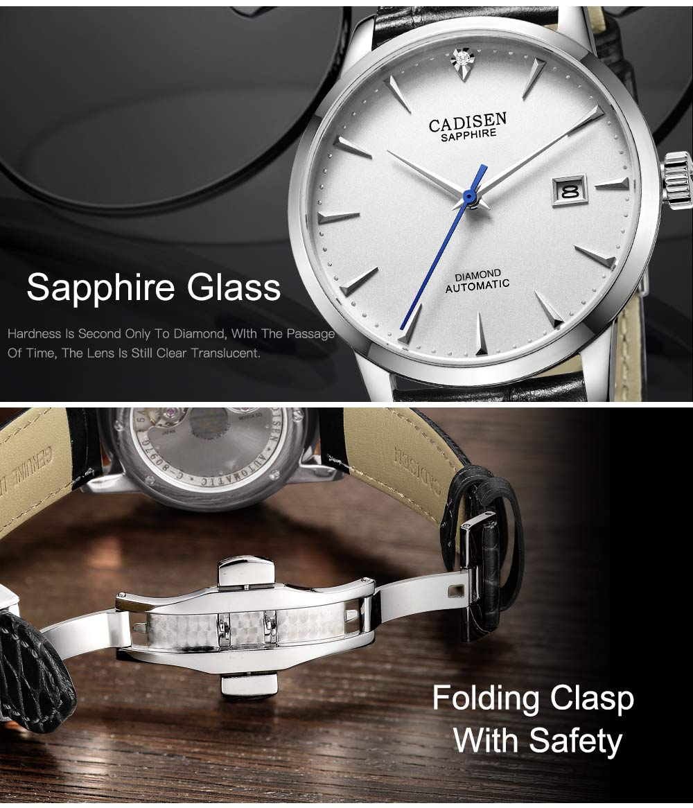 Hced8d37e8c1b464aacdcc005506053f7n CADISEN Men Watches Automatic Mechanical Wrist Watch MIYOTA 9015 Top Brand Luxury Real Diamond Watch Curved Sapphire Glass Clock