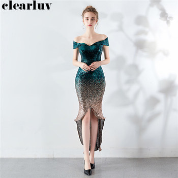 High Low Evening Dresses Sequins Party Dresses for Women DX288-1 Plus Size Robe De Soiree 2020 Sexy Stylish Boat Neck Prom Gowns african silver high neck mermaid prom dresses ruffles rose flower prom gowns robe de bal backless party dresses evening wear for