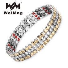 Женский магнитный браслет welmag из нержавеющей стали с золотыми