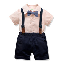 2019 Boys Clothing Set Summer Formal Boys Clothes Short Sleeve Shirt with Bow Tie+Shorts 2Pcs Kids Gentleman Suits цена 2017