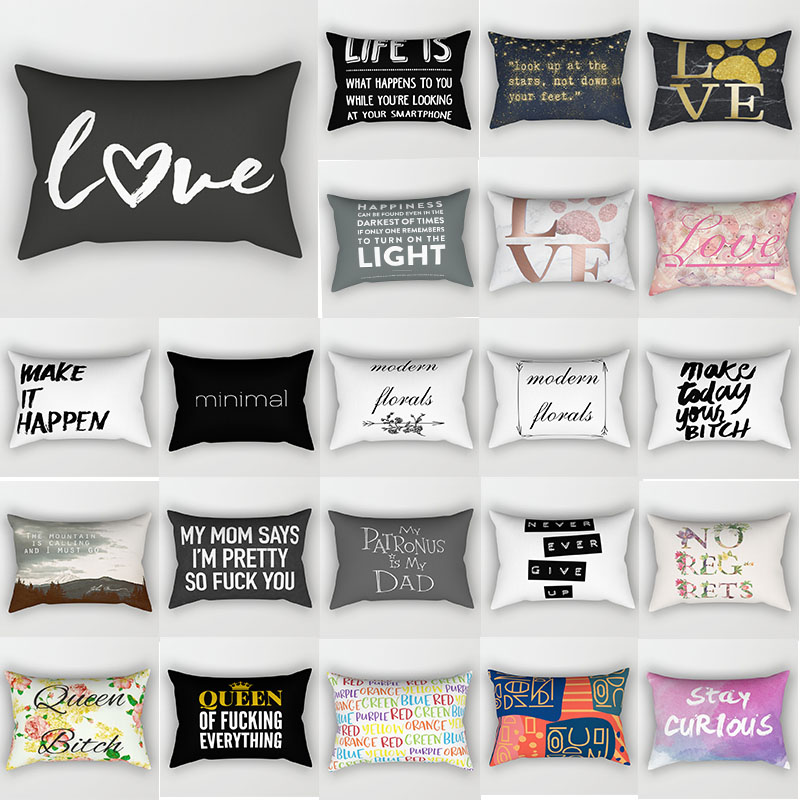 Fashion Love Letters Travel Pillow Cases Rectangle Creative Pattern Two Sides Printing Pillow Covers 50*30cm