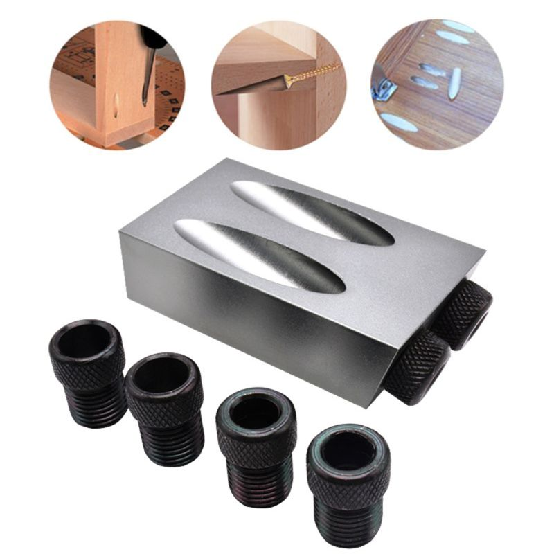 14pcs/set Woodworking Pocket Hole Jig 6/8/10mm Oblique Hole Locator Positioner Drilling Bits Jig Clamp Woodworking Kit