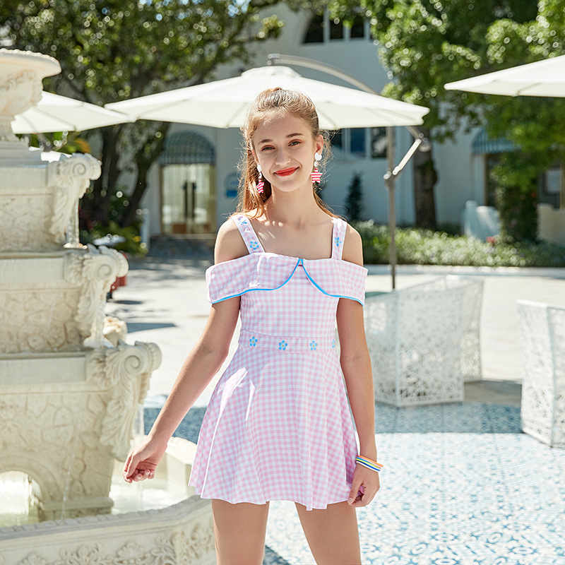 2019 New Style Miss Sunshine KID'S Swimwear Fashion Plaid Boxers Skirt Big Kid Women's One-piece Swimming Suit