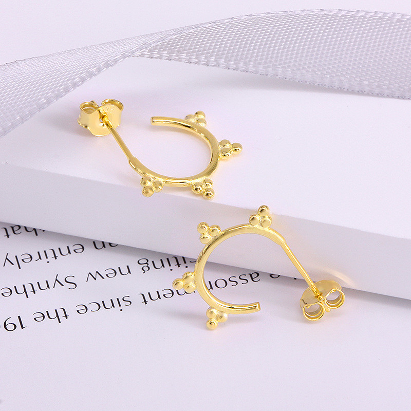 WANTME Real 925 Sterling Silver Geometric Three Ball Sun Flower Stud Earrings for Women Minimalist C-shaped Bead Fashion Jewelry