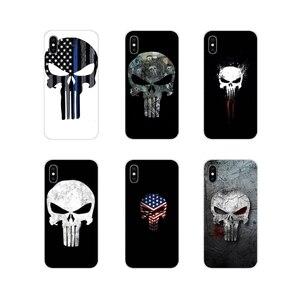 Fajne Punisher czaszka akcesoria artystyczne obudowy telefonu dla Apple iPhone X XR XS 11pro MAX 4S 5S 5C SE 6S 7 8 Plus ipod touch 5 6