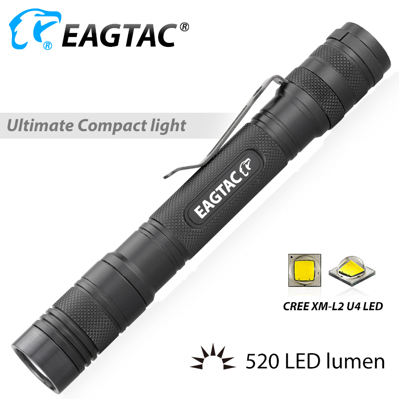 EAGTAC D25A2 XM-L2 520 Lumen XPL HI Nichia 219 2xAA 2AA Battery LED Flashlight EDC Mini Torch 4 Modes