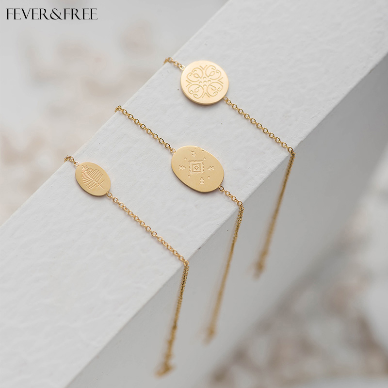 Fever Free Retro Elegant Rune Stainless Steel Bracelet For Women Engraved Irregular Leaves Bracelets Bangles Wristband Jewelry in Chain Link Bracelets from Jewelry Accessories