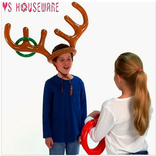 Inflatable Santa Funny Reindeer Antler Hat Ring Toss Christmas Holiday Party Gam