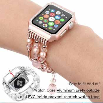 Metal Diamond Case+ band For Apple Watch Series 6 SE 5 4 3 2 Bracelet Women Replacement watch strap for iWatch 38mm 42mm 40/44mm