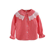 Kids Crochet Lace Collar Shirt For Girls Long Sleeve School Blouse Princess Casual Clothing Teenager Plaid Tops for Girls 4-13 T spring fall teenager baby school girls white blouse lace bow girls tops kids plaid shirt long sleeve shirts children s clothing