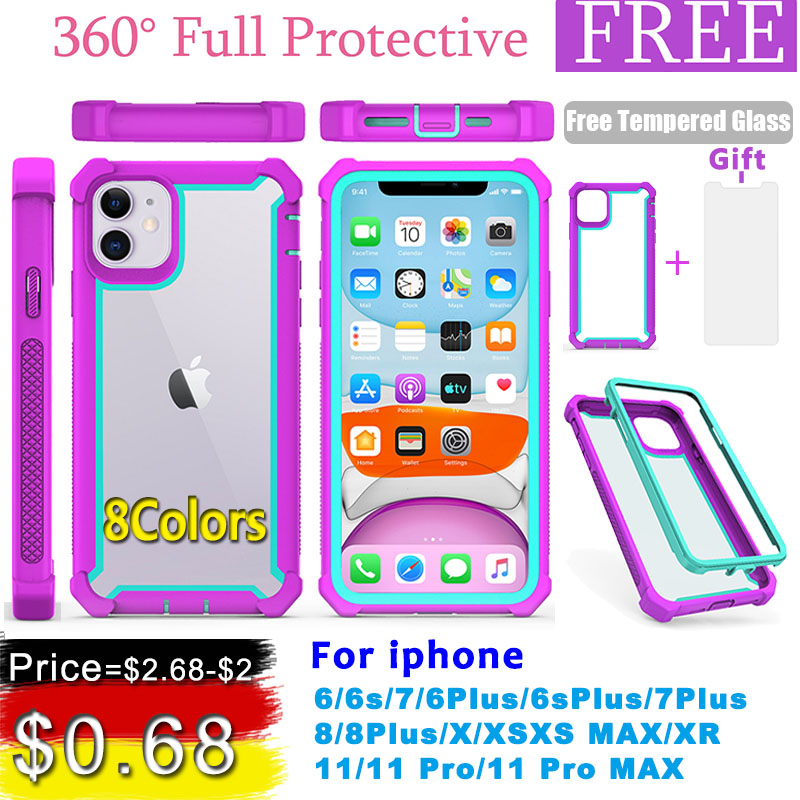 <font><b>Case</b></font> for <font><b>iPhone</b></font> 11 Pro XS Max XR <font><b>6</b></font> 6S 7 8 Plus Heavy Duty Protection armor PC+TPU Shockproof <font><b>Case</b></font> Free Tempered Glass cover image