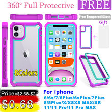 Case for iPhone 11 Pro XS Max XR 6 6S 7 8 Plus Heavy Duty Protection armor PC+TPU Shockproof Case Free Tempered Glass cover(China)