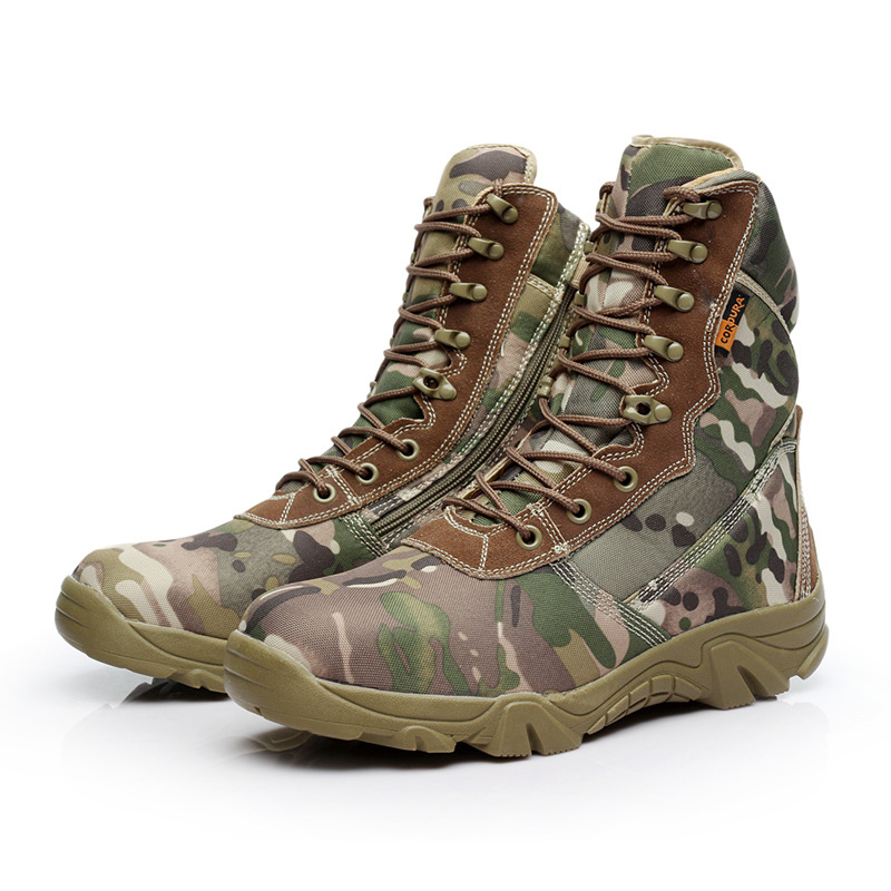 Camouflage Hiking Shoes Outdoor Tactical Shoes Boots Winter Hight-top Mountaineering Shoes War Art Shoes Mountain Camping Shoes