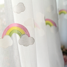 Embroidered White Cloud and Rainbow Tulle Window Curtains for Living Room Bedroom Cotton Sheer Voile Curtain for Kitchen Blind