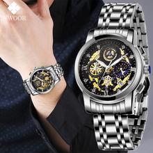 Modne męskie zegarki WWOOR z ażurową dekoracją kwarcowy zegarek na rękę ze stali nierdzewnej Top marka luksusowy wodoodporny sportowy chronograf męski zegarek tanie tanio 23cm Moda casual QUARTZ Rohs 3Bar Klamerka z zapięciem CN (pochodzenie) STOP 12mm Hardlex Kwarcowe zegarki Papier STAINLESS STEEL