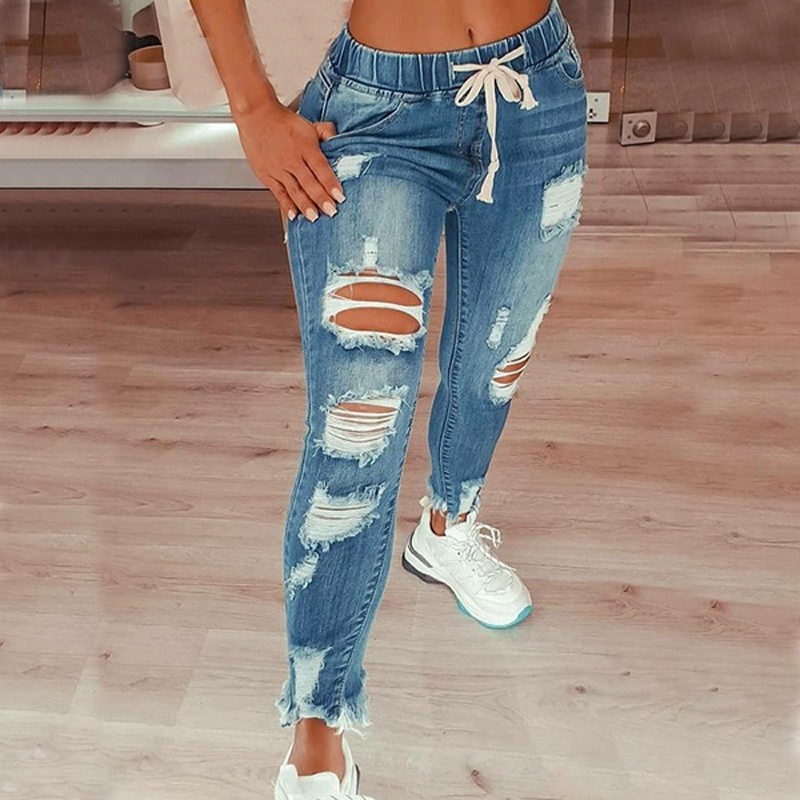 Drawstring Denim Jeans For Women Ripped Hole Stretch Jean Ladies Plus Size Full Length Pencil Pants 3
