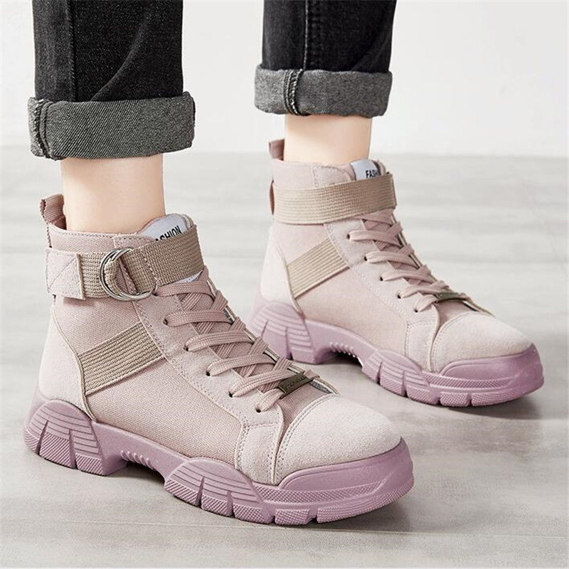 Women Boots Suede Canvas Ankle Boots