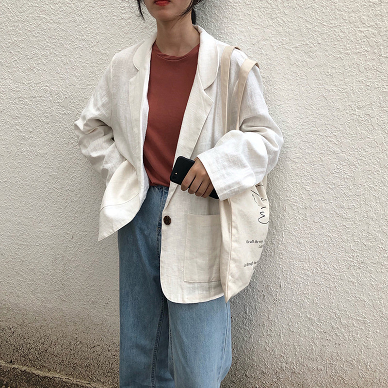 2 Colors Korean Style Breif Linen Long Sleeve Solid Color Black Blazer Womens Jacket And Coats Casual Blazer Womens (F3788)