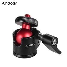 Andoer Mini rótula de bola de trípode con tornillo 1/4in gran compatible con trípode, selfie stick 360 grados giratorio para cámara DSLR