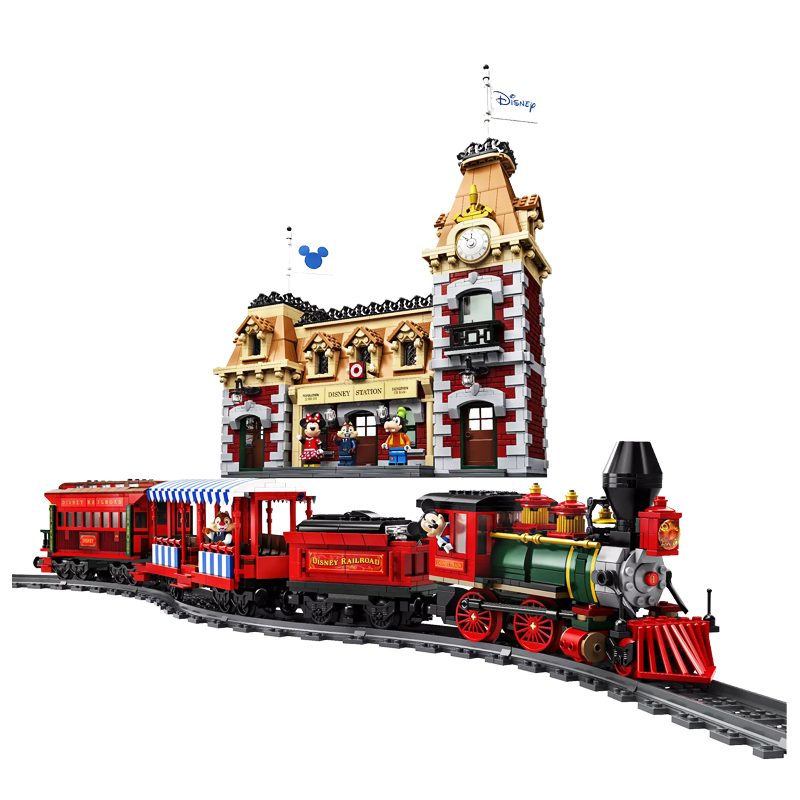 2020 New Toys Disneyingl Train And Station Compatible Legoinglys Disneying 71044 Building Blocks Toys For Children Birthday Gift