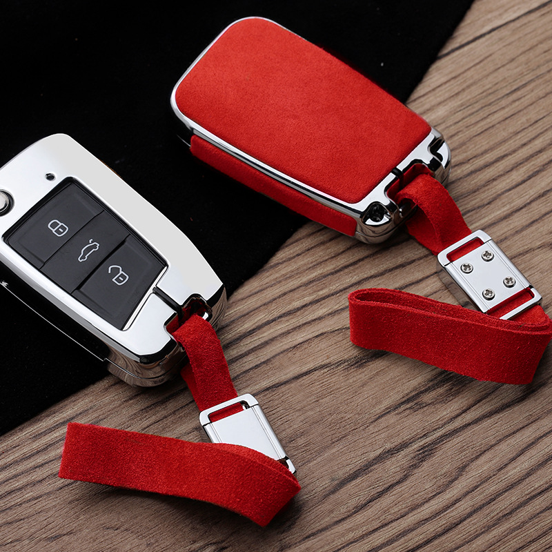 Car Suede Leather Key Case Holder Cover For Volkswagen Polo Golf 7 Tiguan For Skoda Octavia Kodiaq Karoq For SEAT Ateca Leon|Key Case for Car| |  - title=