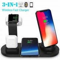 PYMH-Soporte de cargador inalámbrico 3 en 1, estación de carga Qi inalámbrico rápido para Apple Watch Airpods iPhone, auriculares de teléfono móvil