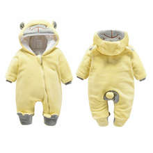 цены на Newborn Baby Winter Romper Flannel Thick Overalls Boys Girl Autumn Warm Hooded Jumpsuit Fashion Infant Wear Kid Climb Clothes в интернет-магазинах