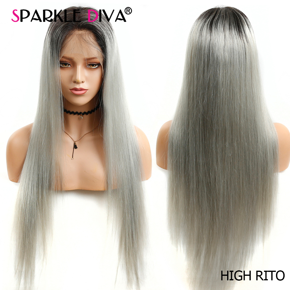 Straight Hair Lace Front Human Hair WIgs T1B/Gray Brazilian 13x4 Lace Front Wig Pre Plucked With Baby Hair Remy Human Hair Wigs