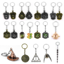 Classic Movies Hogwarts College Badge Keychain Metal Alloy Time Turner Magic Wand Hat Wings Of The Snitch Keyring