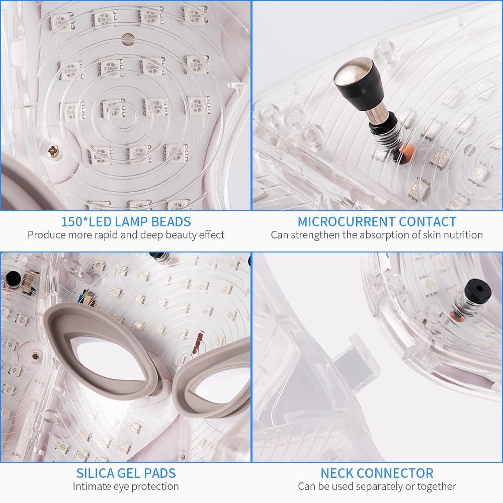 Foreverlily 7 couleurs Led masque Facial Led coréen Photon thérapie masque Facial Machine luminothérapie acné masque cou beauté masque Led - 4