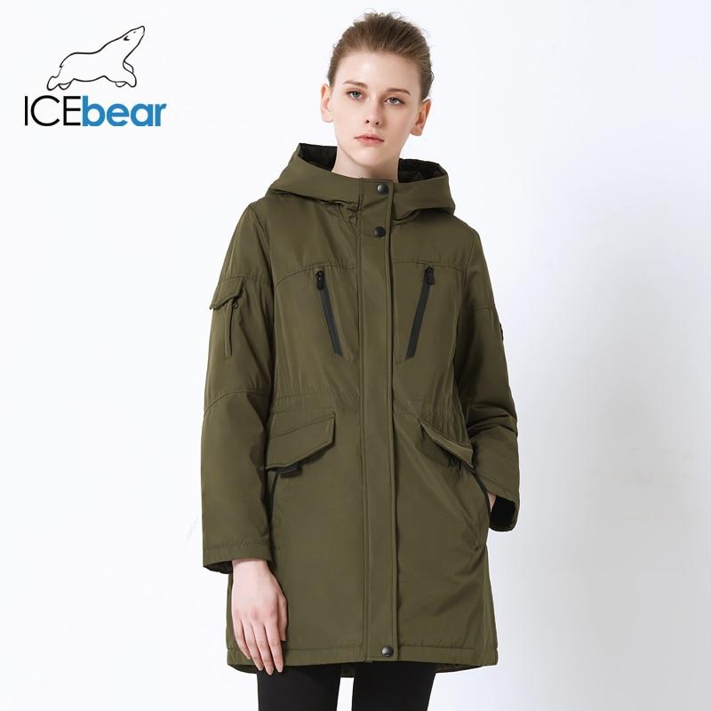 ICEbear 2019 New Fall Women Jacket High Quality Casual Ladies Jacket Slim Hooded Brand Jacket GWC18010I