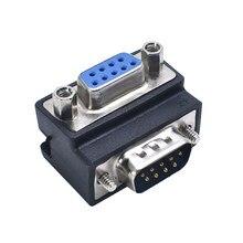 Adaptador de porta serial do pino rs232 db9 dp ângulo direito 90 graus cotovelo masculino ao conversor fêmea