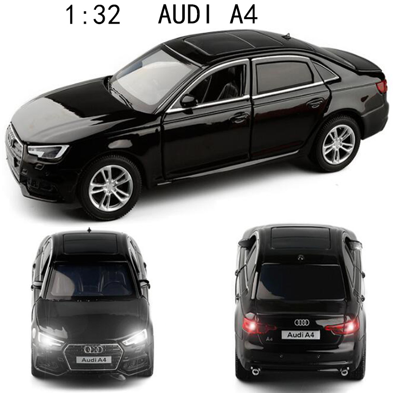1:32 AUDI A4 Simulation Car Model Diecast Toy Car 6Doors-Opened Sounds&Lights Hobbies For Collection Children's Birthday Gifts