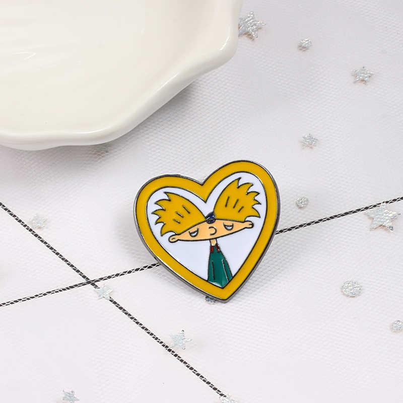 Kartun Arnold Pin Menyenangkan Anime Enamel Pin Koleksi Fashion Acara TV Bros untuk Teman-teman Ransel Kerah Pin Lencana Perhiasan hadiah