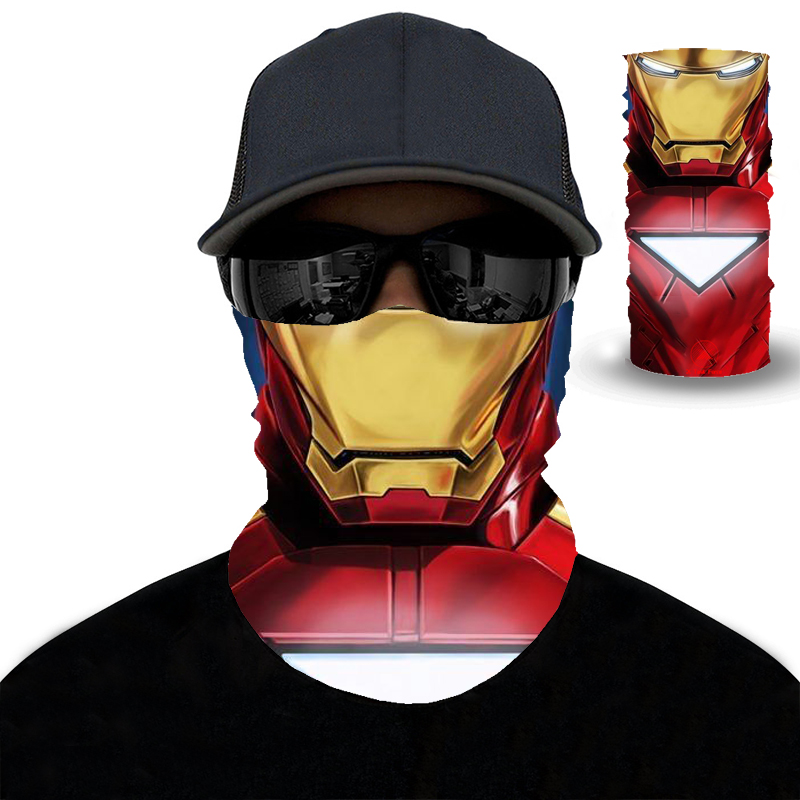 2020 3D Iron Man Hiking Scarf Sport Headwear Men Women Bandanas Motorcycle Turban Hand Band Magic Scarves Outdoor Cycling Mask