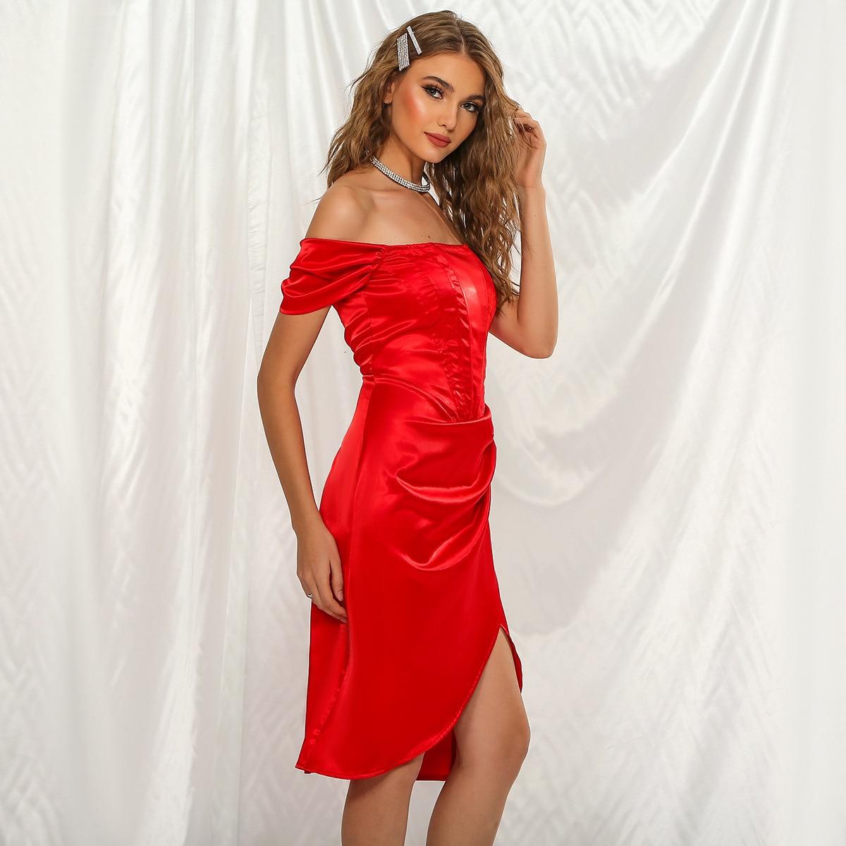 Robe rouge Sexy à épaules dénudées pour femme, tenue de soirée élégante