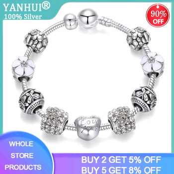 YANHUI New Design Silver Charm Bracelet White Heart/Flower Pattern Crystal Beads Bracelet Fashion Jewelry Gift for Women Girl dropshipping 2020 new fashion silver beads bracelet blue flower floral crystal charms bracelet