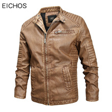 2019 Brand Jacket Leather Men Fashion Biker Jackets Coats Autumn Winter Warm PU Windproof Casual Fur Coat Men Large size M-4XL цены онлайн