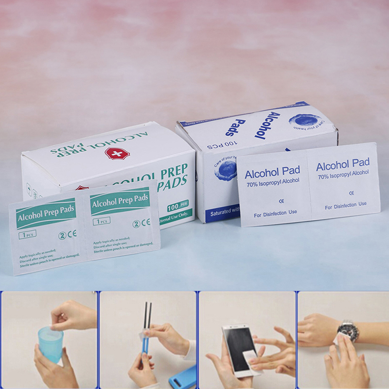 New 100pcs/Box Alcohol Swabs Pads Wipes Antiseptic Cleanser Cleaning Sterilization First Aid Home Makeup