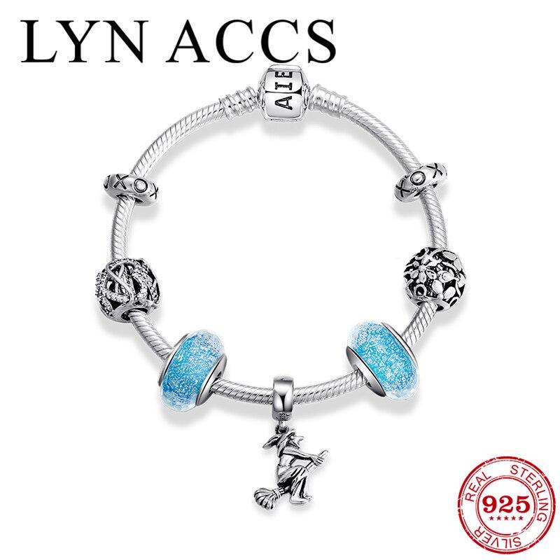 Porte-bonheur magique sorcière lettre perle Bracelets charme argent Sterling 925 CZ fleur perles serpent chaîne Bracelets femmes amitié bijoux