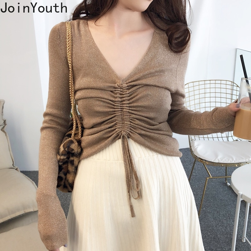 JoinYouth V Neck Pullovers Autumn Pleated Solid Fashion 2019 Women Sweaters Long Sleeve Sexy Short Slim Pull Femme Korean J111