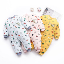 New One-Pieces Newborn Baby Rompers Winter Warm Long Sleeve Cotton Cartoon New Born Infant Jumpsuit Baby Girl Boy Romper Clothes 2017 newborn baby boy winter long sleeve cotton clothing toddler baby clothes romper warm cartoon jumpsuit for 0 12 months
