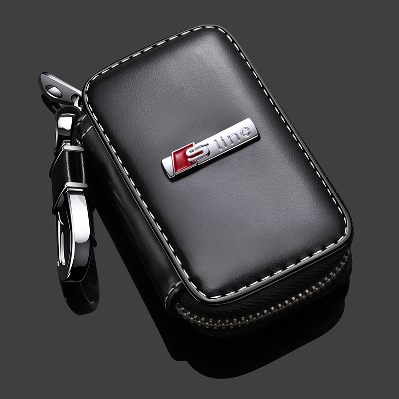 Кожаный чехол для автомобильного ключа, чехол с логотипом Sline для Audi Sline Quatttro A3 A4 A5 A6 A7 A8 Q3 Q5 Q7 TT SQ3 SQ5 SQ7 S1 S3 S4 S6 S8 TT B