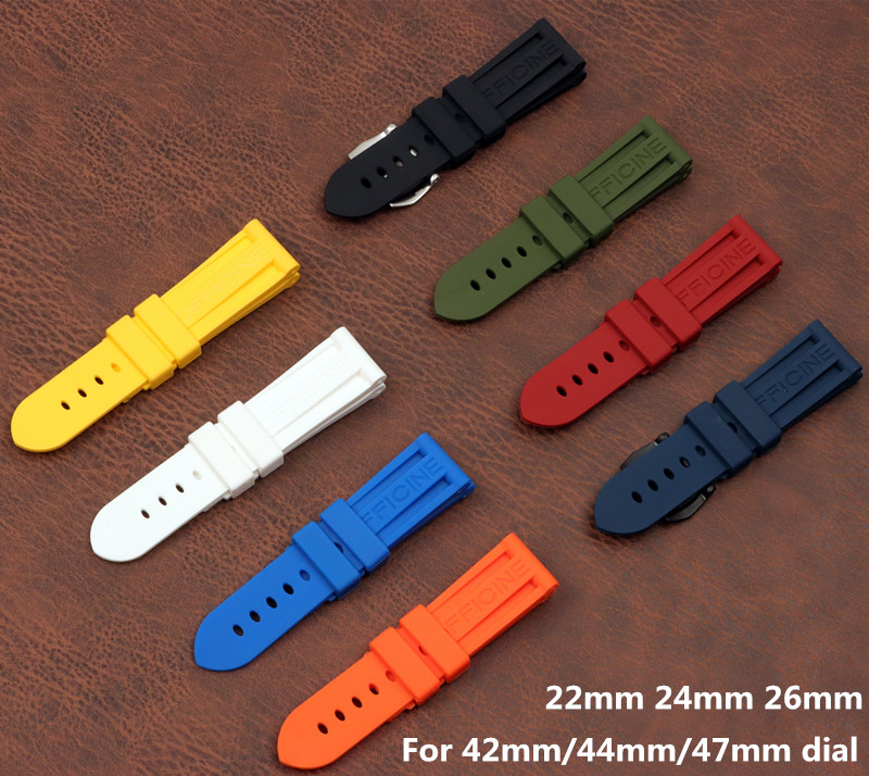 22mm 24mm 26mm Black Blue Red Orange army green yellow watch band Silicone Rubber Watchband replace For Panerai Strap buckle(China)