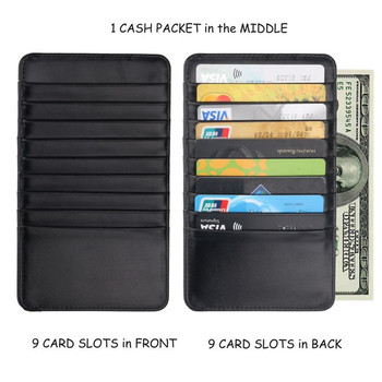 Super Thin Quality PU Leather 18 Card Slots Business Card Holders Long Wallet Credit ID Card Holder Fashion Men Women Mini Purse zoress genuine leather women fashion card holder 22 card slots large capacity girls id credit card case bag purse wallet 8 color