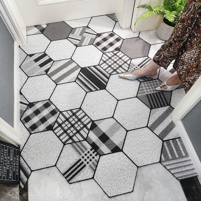 Indoor/Outdoor Mat PVC Coil Absorbent Welcome Rug Non-Slip Heavy Duty Low Profile Mat For Entry Dust Trapper Waterproof Area Rug
