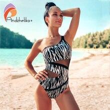 Andzhelika 2020 Sexy Đen Trắng Da Báo Bơi Đồ Bơi Có Đệm Lưới Cao Cấp Đồ Bơi Bodysuit